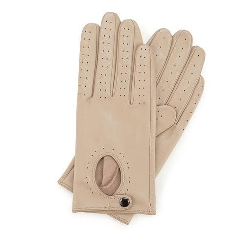 Damskie rękawiczki skórzane samochodowe, beżowy, 46-6-304-2T-V, Zdjęcie 1