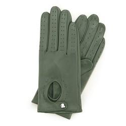Damskie rękawiczki skórzane samochodowe, zielony, 46-6-304-Z-S, Zdjęcie 1