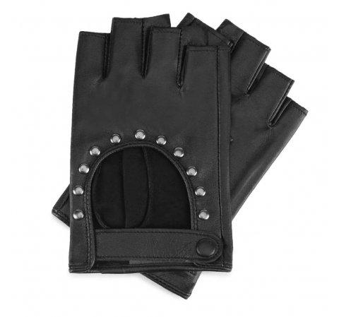 Damskie rękawiczki skórzane bez palców z nitami, czarny, 46-6-306-1-S, Zdjęcie 1