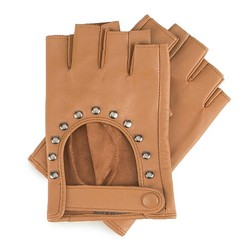 Women's cut off finger gloves, brown, 46-6-306-B-L, Photo 1