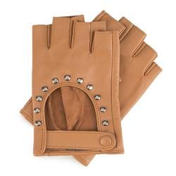 Damskie rękawiczki skórzane bez palców z nitami, Brązowy, 46-6-306-B-S, Zdjęcie 1