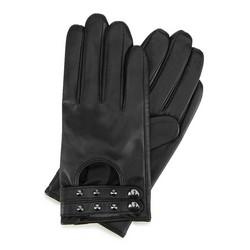 Damskie rękawiczki ze skóry z nitami, czarny, 46-6-307-1-M, Zdjęcie 1