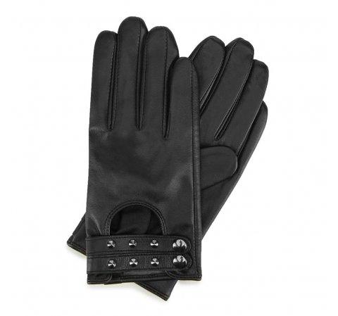 Damskie rękawiczki ze skóry z nitami, czarny, 46-6-307-LB-S, Zdjęcie 1