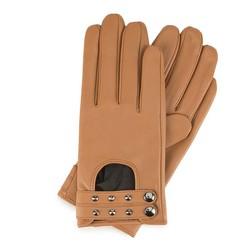 Damskie rękawiczki ze skóry z nitami, camelowy, 46-6-307-LB-S, Zdjęcie 1