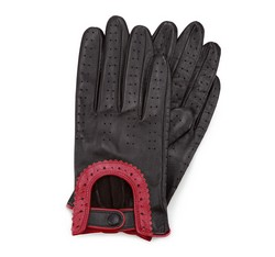 Damskie rękawiczki skórzane samochodowe, czarno - czerwony, 46-6L-292-12T-M, Zdjęcie 1