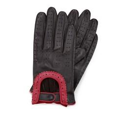Damskie rękawiczki skórzane samochodowe, czarno - czerwony, 46-6L-292-12T-S, Zdjęcie 1