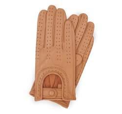 Damskie rękawiczki skórzane samochodowe, camelowy, 46-6L-292-LB-M, Zdjęcie 1