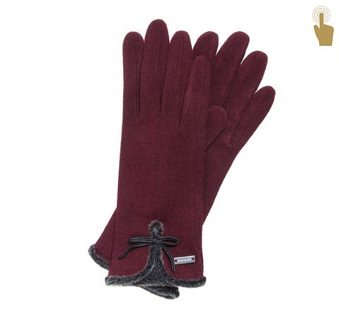 Rękawiczki damskie, bordowy, 47-6-104-2T-U, Zdjęcie 1