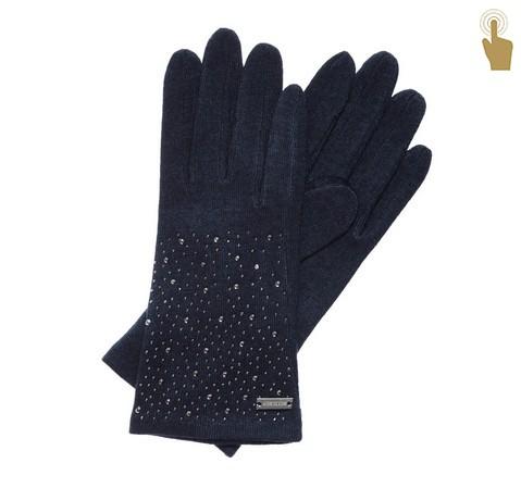 Rękawiczki damskie, granatowy, 47-6-105-7-U, Zdjęcie 1