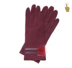 Rękawiczki damskie, bordowy, 47-6-106-2T-U, Zdjęcie 1