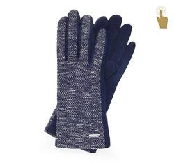 Rękawiczki damskie, granatowy, 47-6-109-7-U, Zdjęcie 1