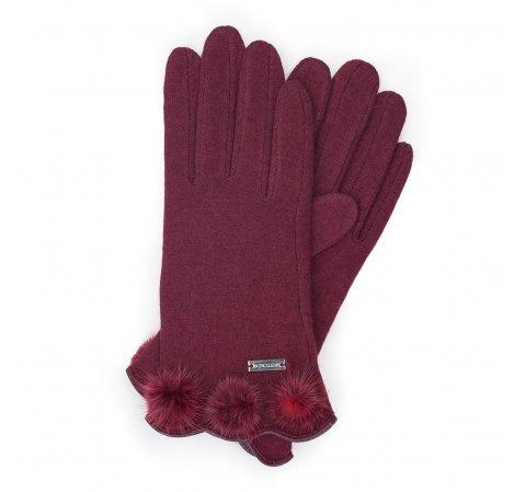 Rękawiczki damskie, bordowy, 47-6-111-2T-U, Zdjęcie 1