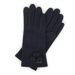 Women's wool gloves with decorative embellishment at the wrist, navy blue, 47-6-114-GC-U, Photo 1