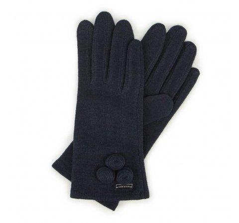 Damskie rękawiczki wełniane z okrągłymi ozdobami, granatowy, 47-6-114-1-U, Zdjęcie 1