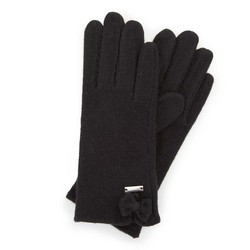 Women's wool gloves with a bow detail, black, 47-6-X91-1-U, Photo 1