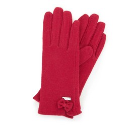 Women's wool gloves with a bow detail, dar red, 47-6-X91-2-U, Photo 1