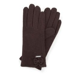 Damskie rękawiczki wełniane z kokardką, Brązowy, 47-6-X91-4-U, Zdjęcie 1