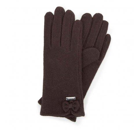 Damskie rękawiczki wełniane z kokardką, Brązowy, 47-6-X91-2-U, Zdjęcie 1