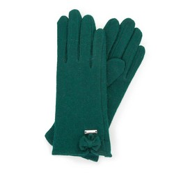 Women's wool gloves with a bow detail, green, 47-6-X91-Z-U, Photo 1