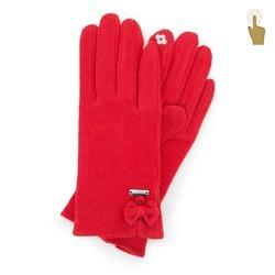 Damskie rękawiczki wełniane do smartfona, czerwony, 47-6-X92-3-U, Zdjęcie 1