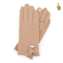 Damskie rękawiczki wełniane do smartfona, beżowy, 47-6-X92-5-U, Zdjęcie 1