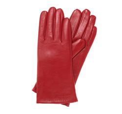 Rękawiczki damskie ze skóry gładkie, czerwony, 39-6-545-2T-M, Zdjęcie 1