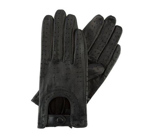 Damskie rękawiczki skórzane samochodowe, czarny, 46-6L-292-LB-M, Zdjęcie 1