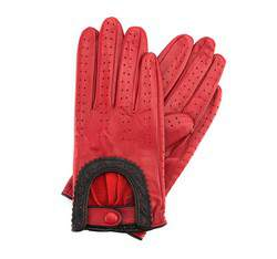 Damskie rękawiczki skórzane samochodowe, czerwony, 46-6L-292-2T-X, Zdjęcie 1