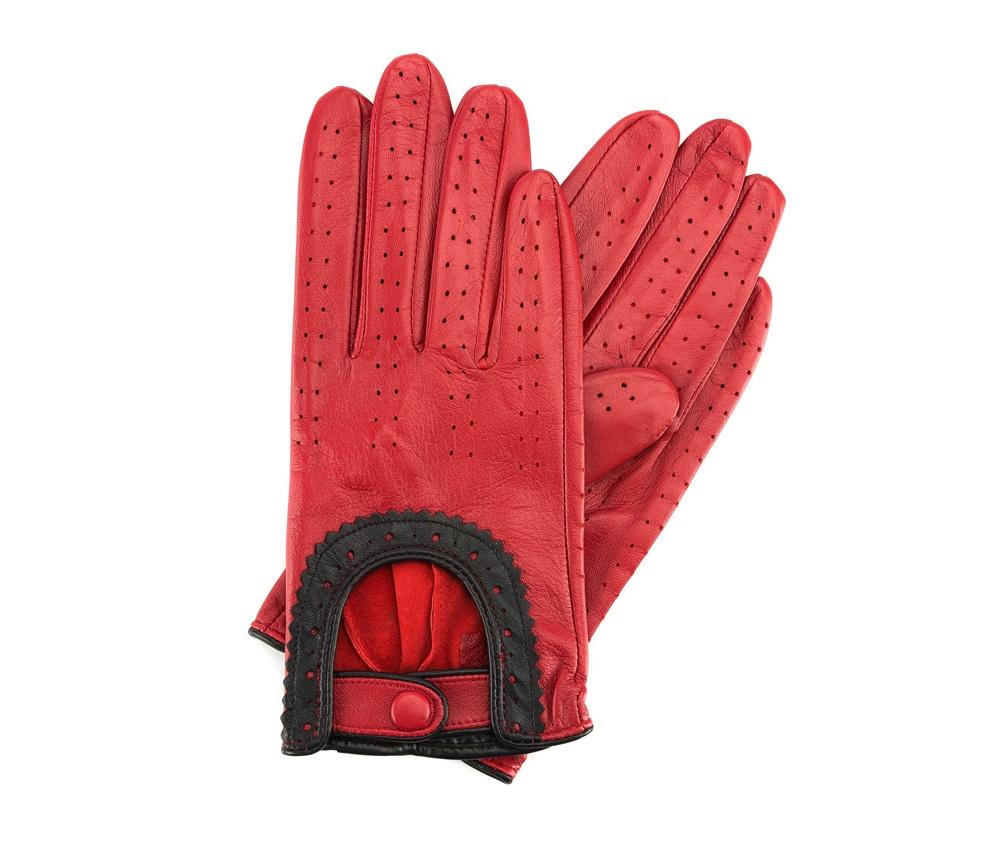 Перчатки женскиеЖенские автомобильные перчатки, изготовлены из натуральной кожи высокого качества. Застежка для легкого надевания и интересная отделка делают перчатки практичными и в то же время очень женственными.       Размер V  S  M  L  XL  Длина (см) 19  19,5  20  20,5  21 Ширина (см) 7,5  8  8,5  9  9,5 Длина среднего палеца (см) 7,5 8 8,5 9 9,5<br><br>секс: женщина<br>Цвет: красный<br>Размер INT: S<br>материал:: Натуральная кожа