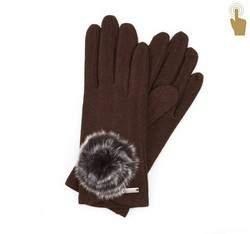 Rękawiczki damskie, brązowy, 47-6-101-D-U, Zdjęcie 1