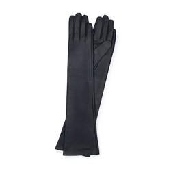 Damskie rękawiczki ze skóry długie, czarny, 45-6L-230-1-L, Zdjęcie 1