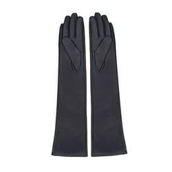 Damskie rękawiczki ze skóry długie, czarny, 45-6L-230-1-S, Zdjęcie 1