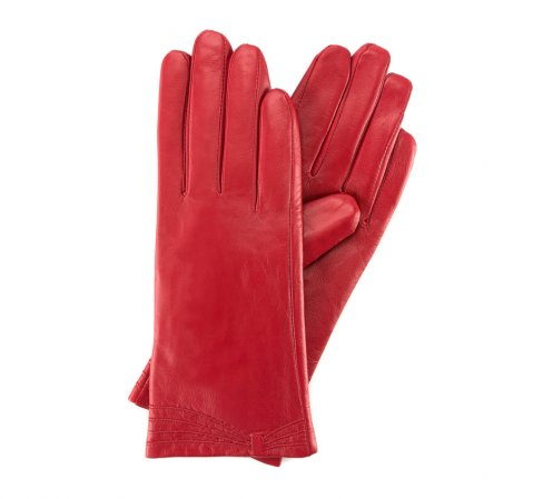 Damskie rękawiczki ze skóry z przeszyciami, czerwony, 39-6L-224-1-V, Zdjęcie 1