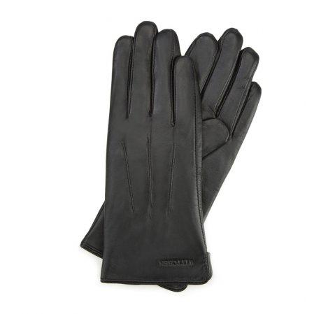 Damskie rękawiczki skórzane z pionowymi przeszyciami, czarny, 39-6L-202-1-V, Zdjęcie 1