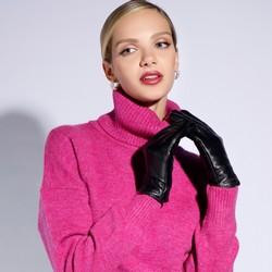 Damskie rękawiczki ze skóry z wycięciem, czarny, 39-6L-213-1-S, Zdjęcie 1