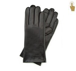 Damskie rękawiczki skórzane eleganckie, czarny, 39-6L-901-1-L, Zdjęcie 1