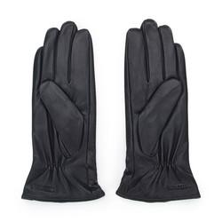 Damskie rękawiczki skórzane z kokardką, ciemny brąz, 39-6-550-BB-M, Zdjęcie 1