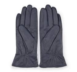 Damskie rękawiczki skórzane z kokardką, granatowy, 39-6-550-GC-V, Zdjęcie 1