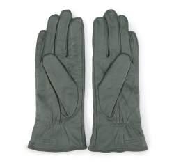 Damskie rękawiczki skórzane z kokardką, khaki, 39-6-550-Z-M, Zdjęcie 1