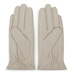 Damskie rękawiczki skórzane z kokardką, beżowy, 39-6-551-6A-L, Zdjęcie 1