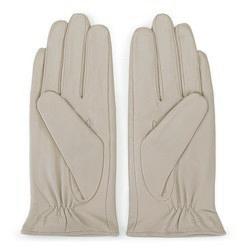 Damskie rękawiczki skórzane z kokardką, beżowo - srebrny, 39-6-551-6A-M, Zdjęcie 1