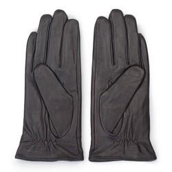 Damskie rękawiczki skórzane z kokardką, ciemny brąz, 39-6-551-BB-M, Zdjęcie 1
