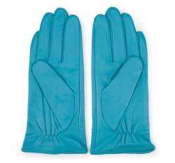Damskie rękawiczki skórzane z kokardką, turkusowy, 39-6-551-TQ-L, Zdjęcie 1