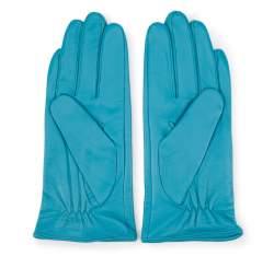Damskie rękawiczki skórzane z kokardką, turkusowy, 39-6-551-TQ-S, Zdjęcie 1