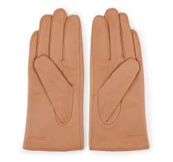 Damskie rękawiczki skórzane z wcięciem, camelowy, 39-6-552-LB-S, Zdjęcie 1