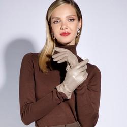 Damskie rękawiczki skórzane z zamszowymi wstawkami, beżowo - srebrny, 39-6-559-6A-S, Zdjęcie 1