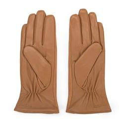 Damskie rękawiczki skórzane z zamszowymi wstawkami, camelowy, 39-6-559-LB-V, Zdjęcie 1