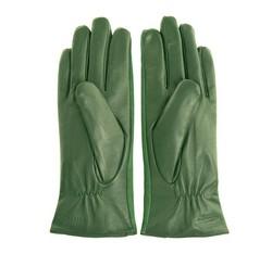 Damskie rękawiczki skórzane z zamszowymi wstawkami, ciemny zielony, 39-6-559-Z-S, Zdjęcie 1