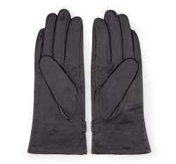 Damskie rękawiczki skórzane ze sprzączkami, czarny, 39-6-573-1-S, Zdjęcie 1