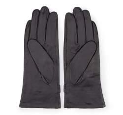 Damskie rękawiczki skórzane ze sprzączkami, czarny, 39-6-573-1-V, Zdjęcie 1
